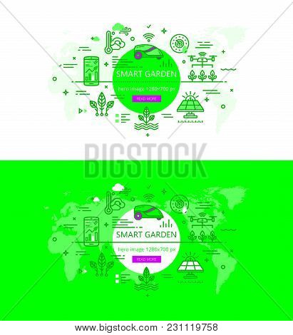 Vector Illustration Of Banners With Smart Garden Related Icons In Flat Line Style.