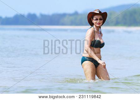 Woman Sexy And Bikini Play Wave On Beach At Bang Beot Beach, Chumphon Province Thailand