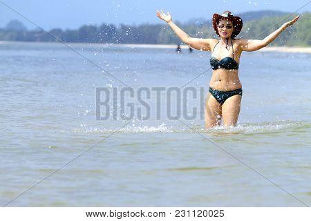 Woman Body Sexy And Bikini Play Wave On Beach At Bang Beot Beach, Chumphon Province Thailand