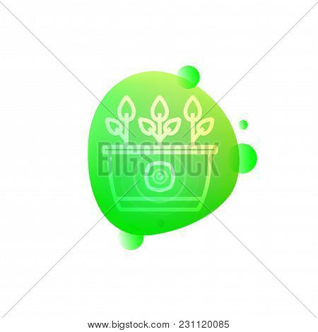 Vector Illustration Of Hi-tech Smart Flower Pot Icon Isolated On White Background.