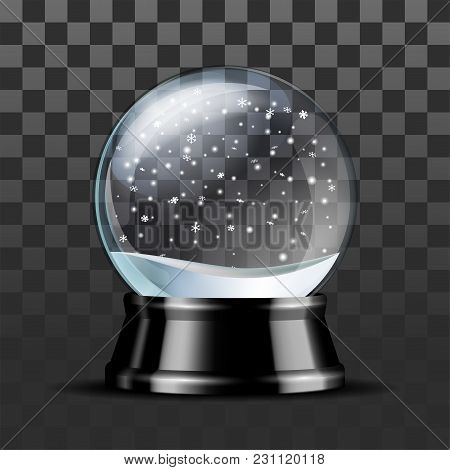 Snow Globe With Falling Snowflakes. Realistic Transparent Glass Sphere On Black Pedestal. Magic Glas