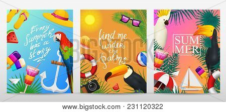 Nautical Summer Cards. Marine Vacation On The Beach. Tropical Plants And Birds, Camera And Anchor, M