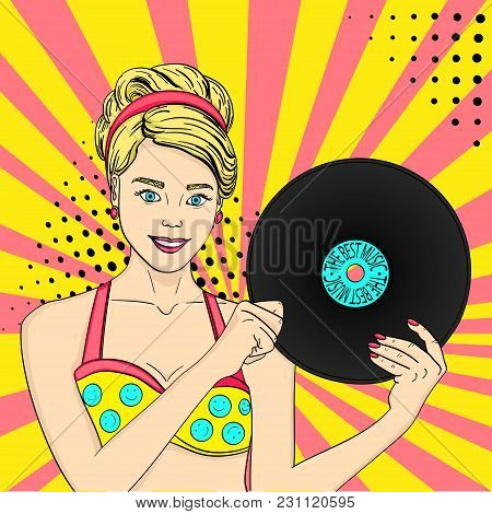 Pop Art Happy Young Woman With A Phonograph Record. Musical Plate Vector Illustration. Imitation Com