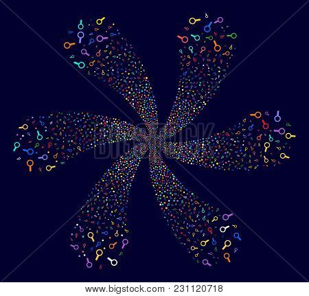 Attractive Search Centrifugal Flower With Six Petals On A Dark Background. Vector Abstraction. Sugge