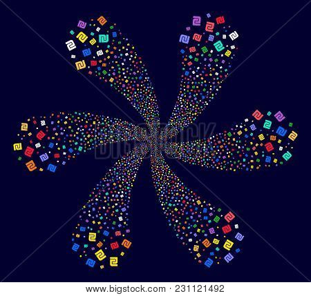 Multi Colored Shekel Explosion Fireworks On A Dark Background. Vector Abstraction. Hypnotic Twirl Do