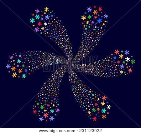 Bright Snowflake Spiral Flower Cluster On A Dark Background. Vector Abstraction. Hypnotic Flower Wit