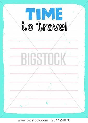 Daily Planner Template. Note Paper With Funny Illustrations. Organizer And Calendar With Lettering.
