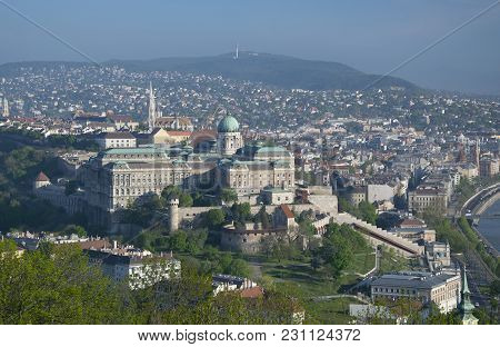 Panoramic View Of Buda With Royal Castle From Gellert Hill In Budapest, Hungary