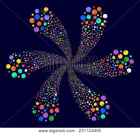 Bright Sphere Swirl Flower Cluster On A Dark Background. Vector Abstraction. Suggestive Cluster Desi