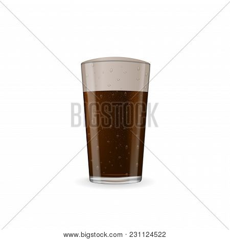 Photo-realistic Dark Beer With Foam At Glass. Vector Image Isolated On The White Background.