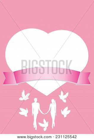 Card Valentine's Day Heart A Couple Of Lovers And Flying Pigeons On A Pink Background With Ribbon Fo