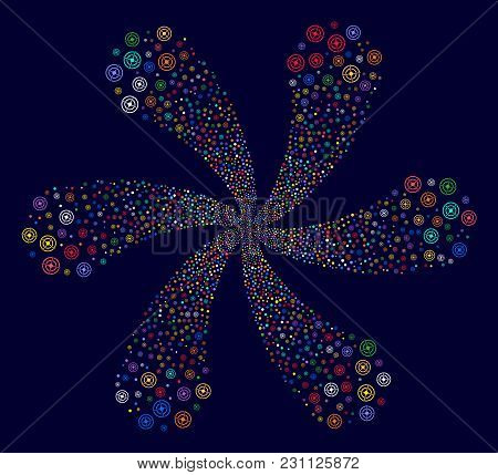 Multi Colored Target Bullseye Curl Flower With Six Petals On A Dark Background. Vector Abstraction.