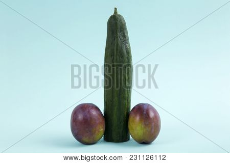 Anthropomorphic Still Life Photography With Cucumber And Plum In The Form Of A Penis
