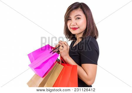 Young Asian Woman Holding Shopping Bags, Shopping And Lifestyle Concept, Sale And Promotion, Black S