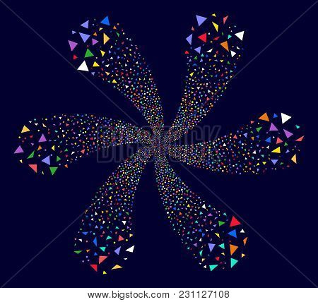 Colorful Triangle Figures Cyclonic Flower Shape On A Dark Background. Vector Abstraction. Suggestive