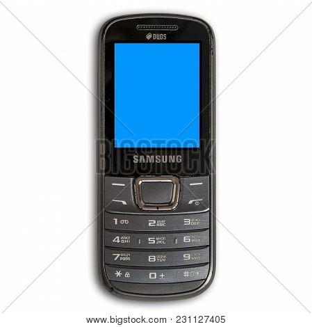 Kazakhstan, Ust-kamenogorsk, March 14, 2018: Old Mobile Phone Samsung Gt-e2252. Mobile Phone Isolate