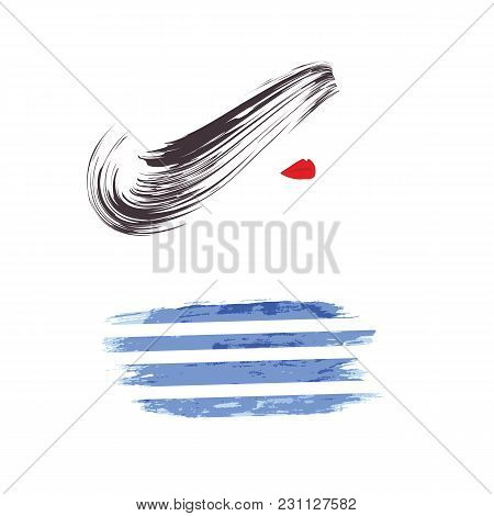 Abstract Image Of A Woman's Face Red Lips Blue Stripes Style Sailor Grunge Art Creative Modern Vecto