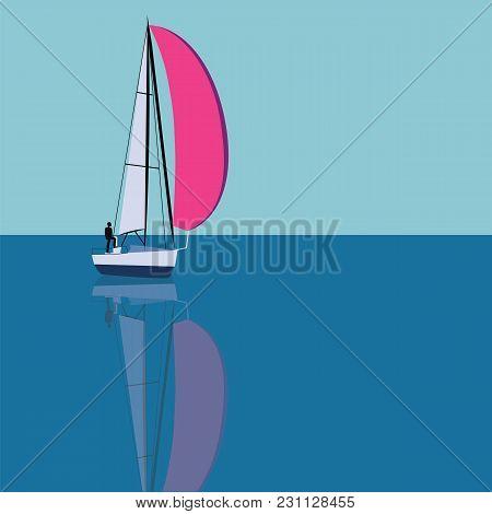 Man Yacht Sail Sea Sky Reflected In Water Abstract Art Illustration Creative Modern Light Flat Style