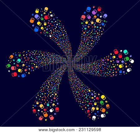 Colorful Weight Swirl Flower Shape On A Dark Background. Vector Abstraction. Impressive Centrifugal