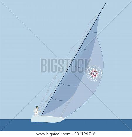 Sail Yacht Man Sea Sky Abstract Art Creative Modern Minimalism Flat Style Vector Illustration Blue B