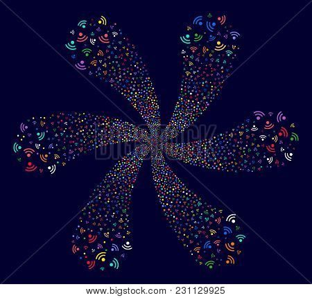Psychedelic Wi-fi Curl Flower Shape On A Dark Background. Vector Abstraction. Hypnotic Cycle Created