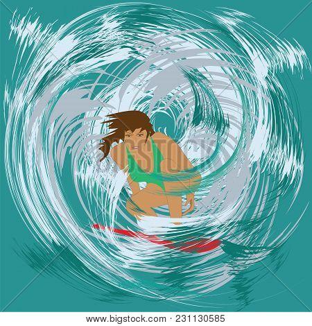 Woman Surfer Wave Splashes Abstract Art Creative Modern Minimalism Flat Style Vector Illustration Ma