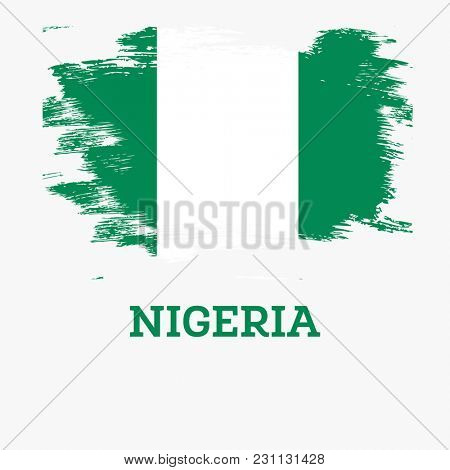 Nigeria Flag with Brush Strokes.