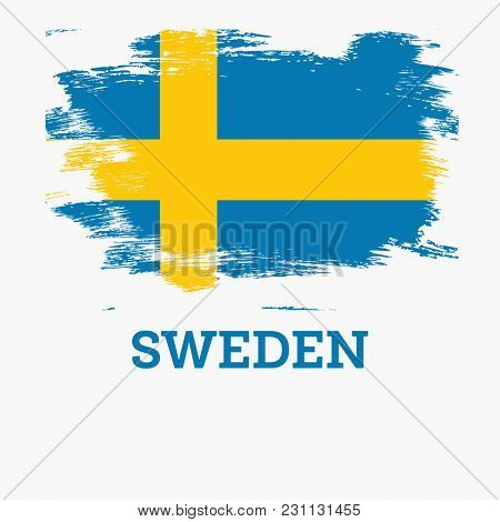 Sweden Flag with Brush Strokes.