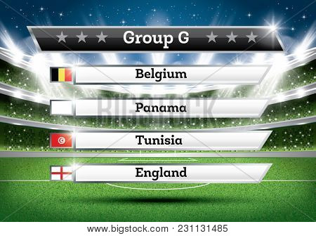 Football Championship Group G. Soccer World Tournament. Draw Result.