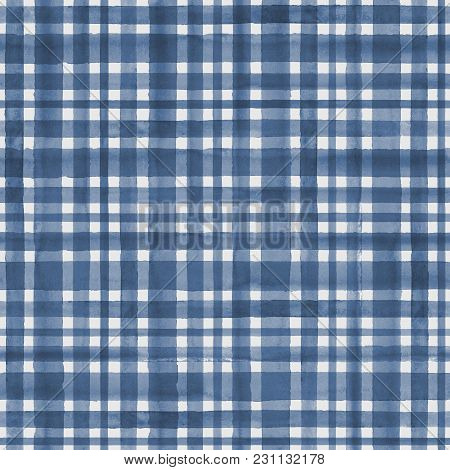 Watercolor Blue Stripe Plaid Gingham Seamless Pattern Background. Watercolour Hand Drawn Striped Tex