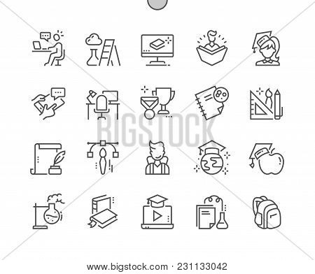 Education Well-crafted Pixel Perfect Vector Thin Line Icons 30 2x Grid For Web Graphics And Apps. Si