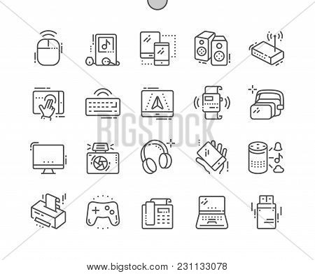 Devices Well-crafted Pixel Perfect Vector Thin Line Icons 30 2x Grid For Web Graphics And Apps. Simp