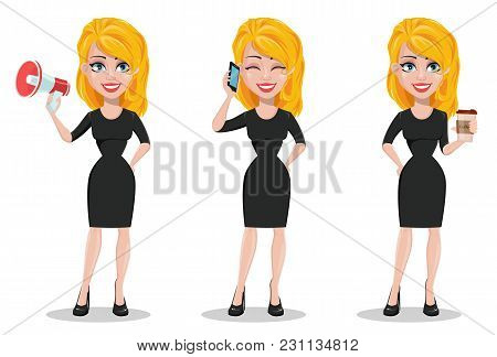 Beautiful Business Woman. Set With Blonde Businesswoman In Formal Wear With A Loudspeaker, With Smar