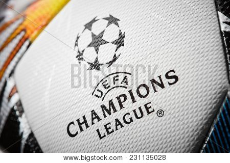 Kiev, Ukraine - February 22, 2018: The 2018 UEFA Champions League Final ball will be the final match of the 2017–18 UEFA Champions League