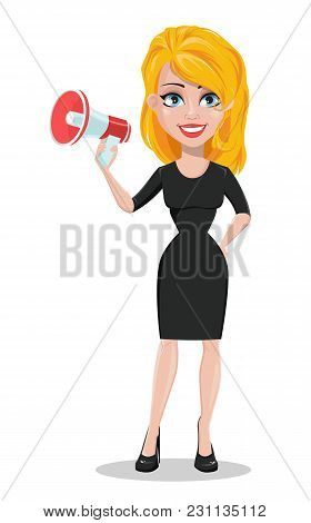 Beautiful Business Woman With A Loudspeaker. Blonde Businesswoman In Formal Wear Standing Straight.
