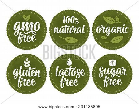 Gluten, Lactose, Sugar, Gmo Free Lettering With Leaf, Cube, Drop. Vector White Vintage Illustration