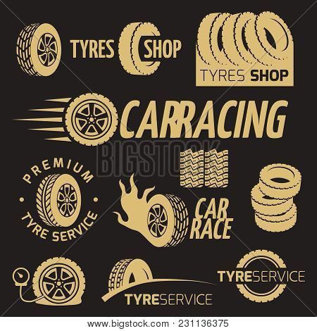 Automobile Rubber Tire Shop, Car Wheel, Racing Vector Logos And Labels Set On Black Background. Vect