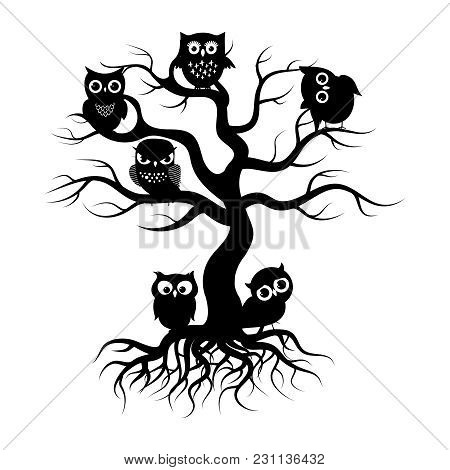 Black Owls On Old Tree. Tree Silhouette With Roots And Forest Birds. Vector Illustration
