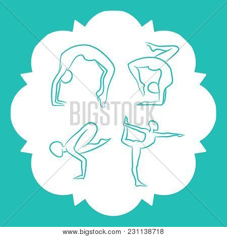 Yoga And Pilates Poses Of Set Line Style Vector Silhouettes Illustration