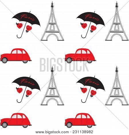 Eiffel Tower Old Machine Red Two Cartoon Heart Black Umbrella Abstract Art Illustration Inscription