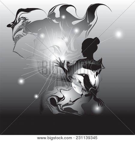 Woman Art Abstract Black And White  Illustration Star Mystic Spiritualism Witchcraft Magic Enchantme