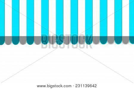 Blue Striped Carnival Information Ticket Window Booth. Vector Illustration.