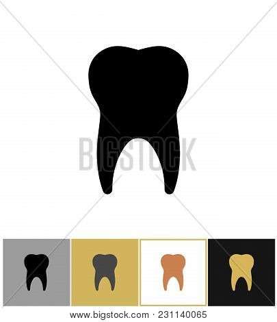 Tooth Icon, Dental Teeth Silhouette Symbol On Gold, Black And White Backgrounds Vector Illustration.