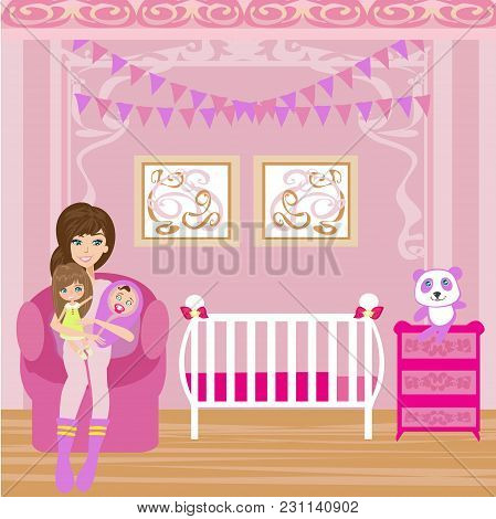 Happy Woman With Children At Home , Vector Illustration