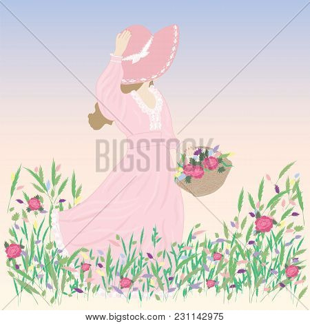 Woman In A Hat Picture Wildflowers Field Meadow Blue Windy Spring Summer Vector Background
