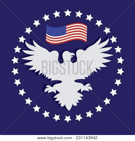 President's Day Us White Eagle American Flag Stars On A Blue Background Vector
