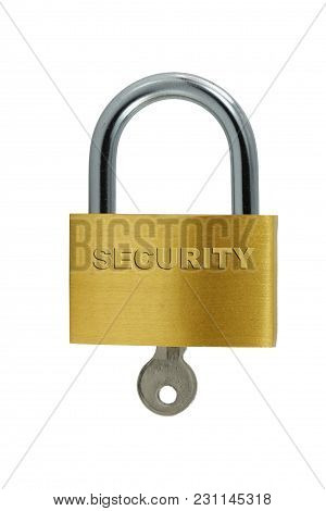 A Isolated Brass Lock And Key On White