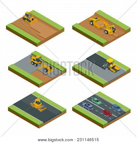 Transport For Laying And Repair Of Asphalt. Isometric Concept Of Forklifts, Asphalt Paver, Wheel Tra