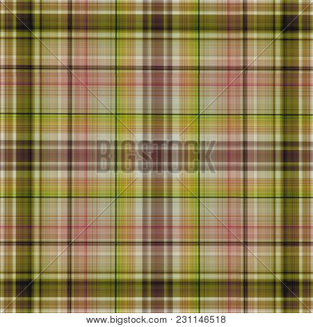 Multicolored Checkered Cotton Or Linen Fabric Pattern - Computer Generated Illustration, Can Be Used