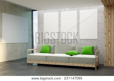 Modern Living Room Interior With Empty Billboard On Wall. Mock Up, 3d Rendering